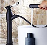 AWXJX Mixer Water Tap copper American retro style bathroom Hot and cold Wash your face black Pull out