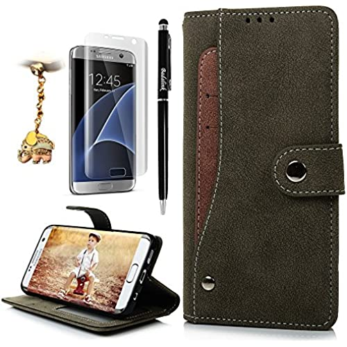 S7 Edge Case,Samsung Galaxy S7 Edge Case - Badalink Suede Leather Extra Card Holder TPU Inner Cover Snap Fastener Sales