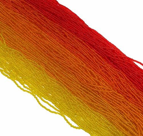 Fire Mix Transparent Yellow Orange Red Czech 11/0 …