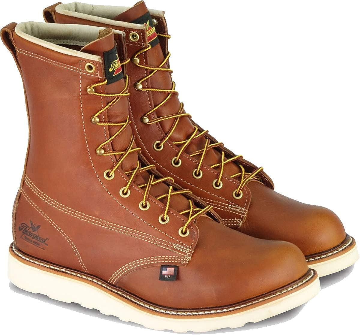Thorogood Mens American Heritage 8 Round Toe MAXWear Wedge Non-Safety Toe Boot American Heritage Plain Toe