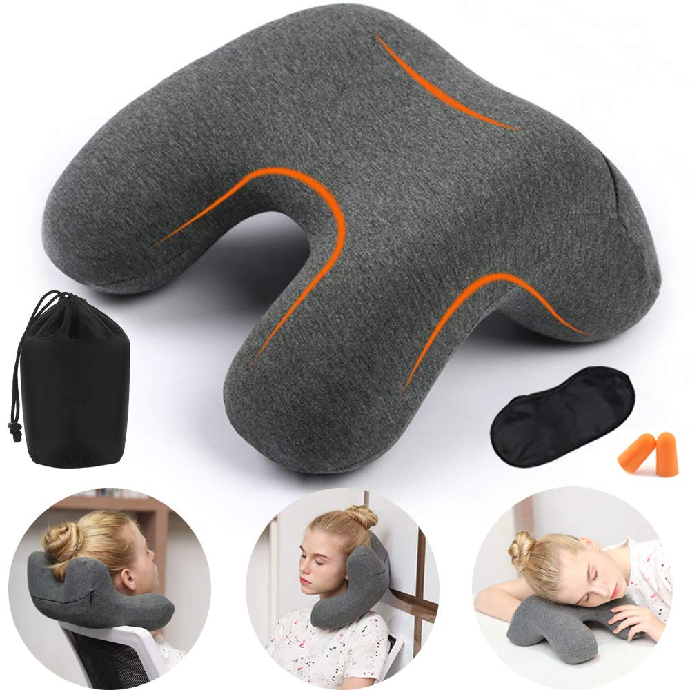 HAOBAIMEI Neck Pillow for Travel and Office, Memory Foam Travel Pillow, Airplanes, Car, Camping, Office, School, Head Neck Pillow, Back Pillow,Travel Accessories for Women and Men(Grey)