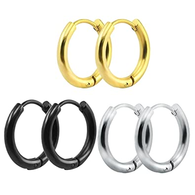 691bd482eafa9 316L Surgical Stainless Steel Hoop Earrings Mens Womens Small Huggie Hoop  Earrings(3 Pairs)