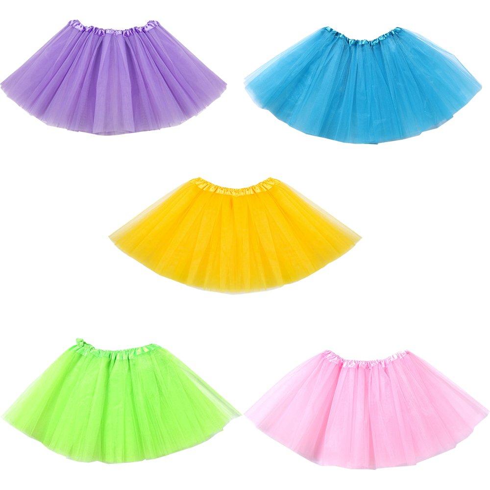 Amazon com mydio 5 pack ballet tutusgirls tutu skirt party tutusgreen pink blue purple yellow toys games