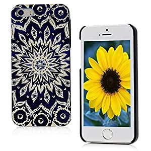 MOLLYCOOCLE Painted Series PC Case Beige Totem Flower Pattern Cover Dark Blue Skin Shell for iphone 6 4.7G