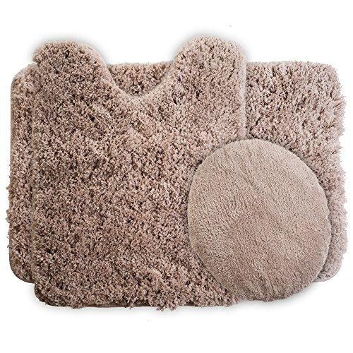 Lavish Home 3-Piece Super Plush Non-Slip Bath Mat Rug Set, Taupe