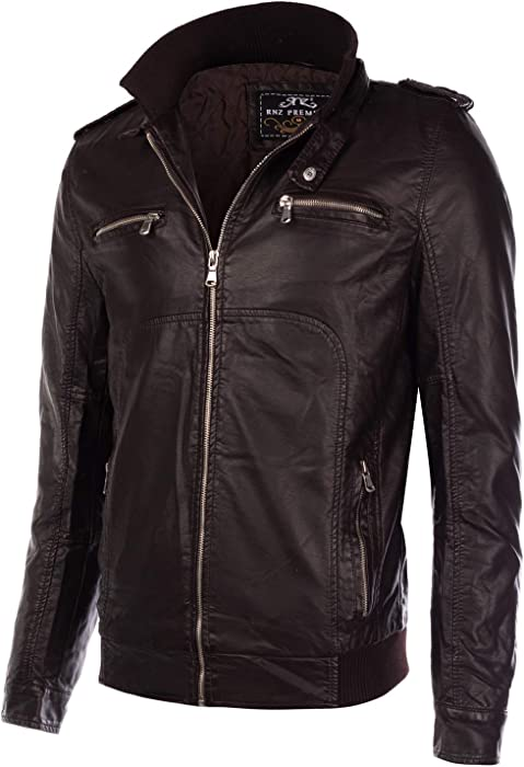 80f5c88bd2ff Mens Long Sleeve Premium Stand Collar Zip Up Faux Leather Jacket