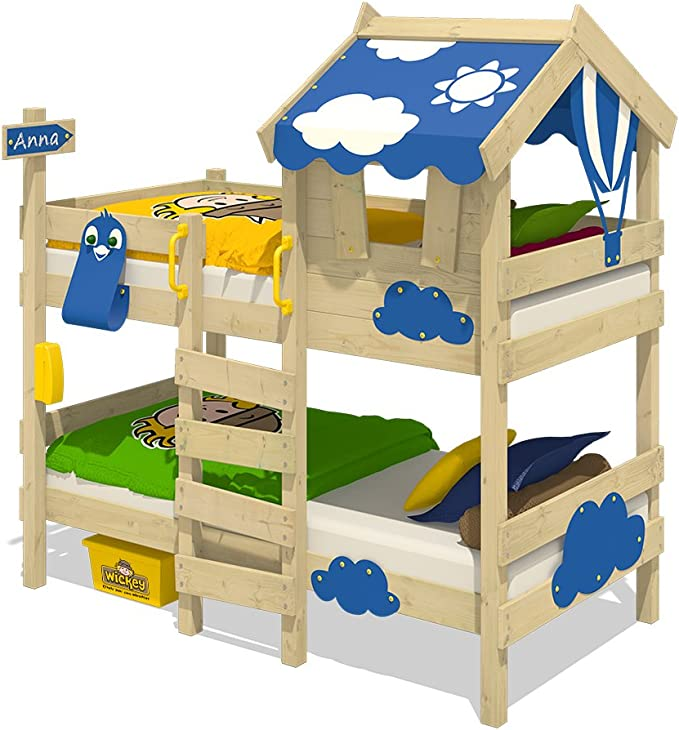 WICKEY Litera CrAzY Daisy Cama infantil Cama alta con techo, ventana, escalera y somier de madera, lona azul