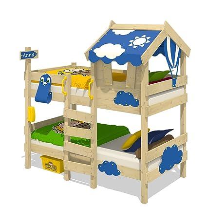 Wickey Lit Superpose Crazy Daisy Lit Enfant Lit Mezzanine Avec Toit Fenetre Echelle D Escalade Et Sommier A Lattes Bache Bleu 90x200 Cm