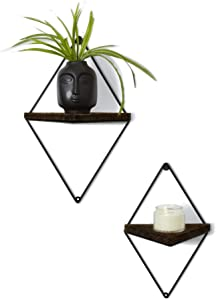 Floating Rustic Wood Triangle Shelves- Set of 2 - Dark Oak Finish - Farmhouse Shelf - Wall Decor - Mounting Hardware Included - Geometric Floating Shelf - Diamond Frame - Modern Decoration (Dark Oak)