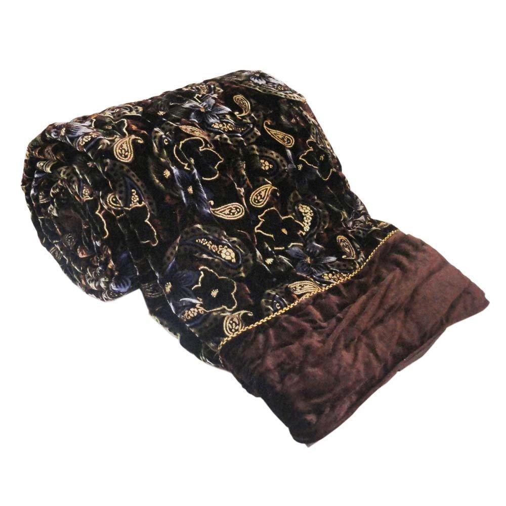 Little India Jaipuri Design Double Bed Brown Velvet Coton Quilt 402