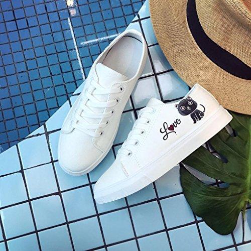 Gatto Donne Somesun Moda Scarpe Bianco Tela Massaggio Traspirante Le Croce Di Casual Morbido Legato Sneakers Skate Leggero Da 5ppqIw