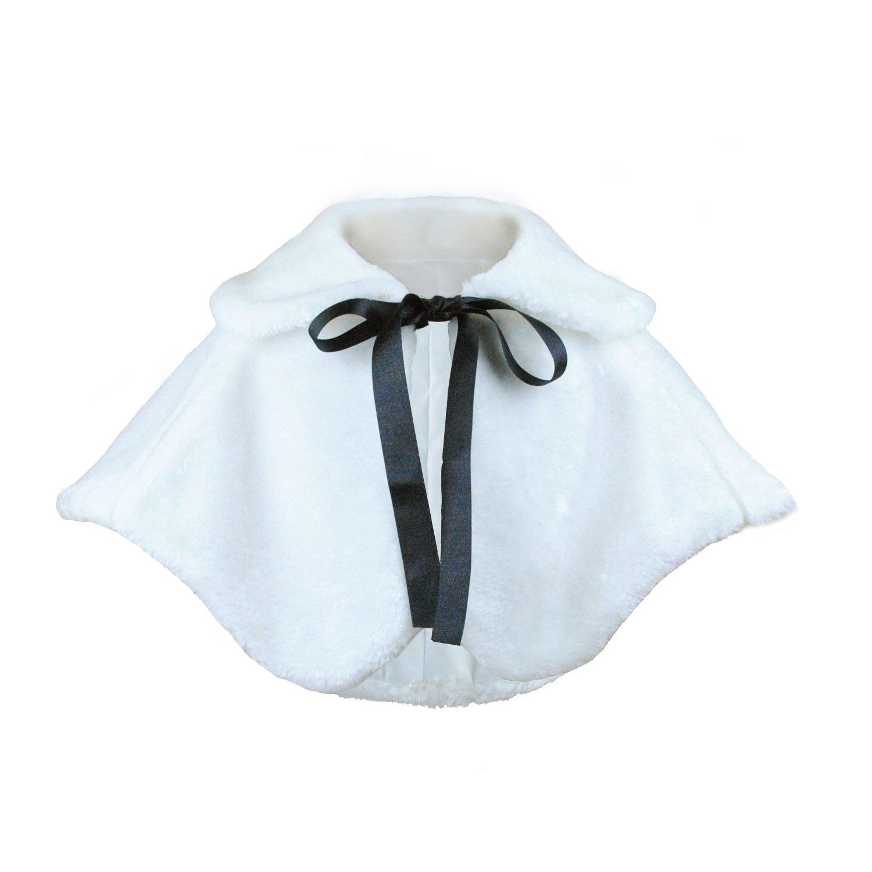 Flower Girl Dress Coat Cozy Faux Fur Accessories Princess Cape (L, White)
