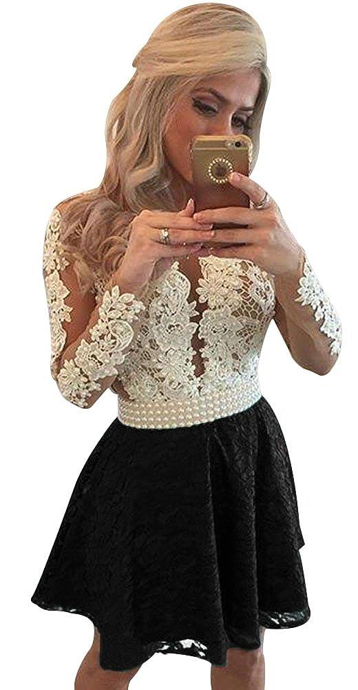 Blackshort LISA.MOON Women's V Neck Long Sleeves Back Hole Lace Applique Pearl Evening Gown