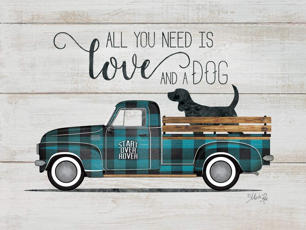 """Rustic Pallet Art Love & a Dog-Vintage Truck Wooden Wall Hanging, 9""""X12"""" Decorative Plaque"""