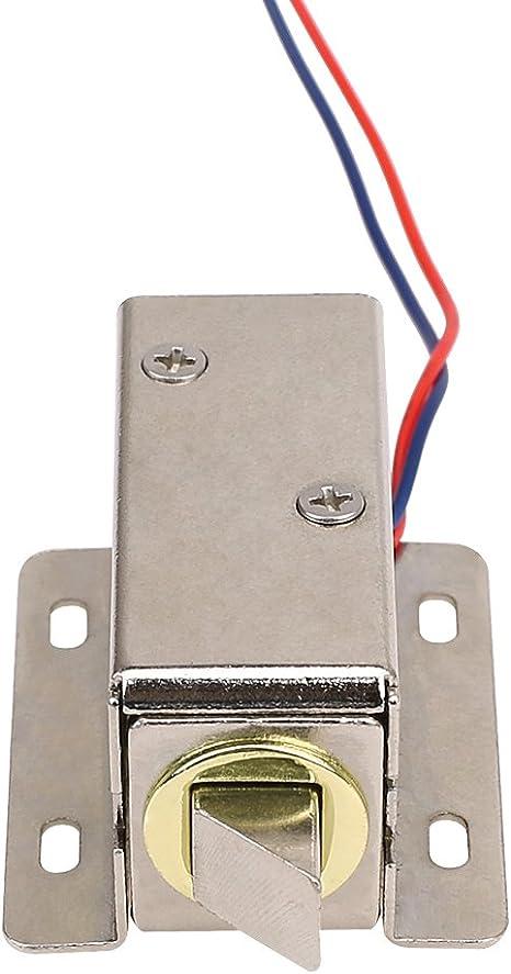 MoPei Cerradura de Puerta Electrónica, DC 12V Cerradura Eléctrica de Solenoide para Control de Acceso del Cajón del Gabinete: Amazon.es: Electrónica