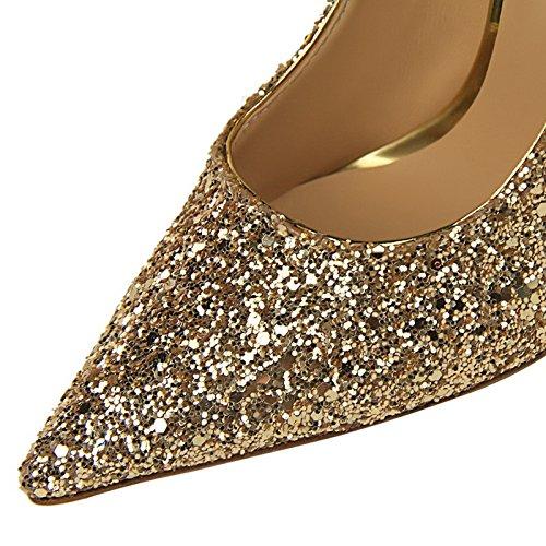 y Parte Unión Zapatos Tacones Sexy de YMFIE Banquetes g Lentejuelas de Trabajo de Damas Puntiagudos Zapatos Iw8xnA