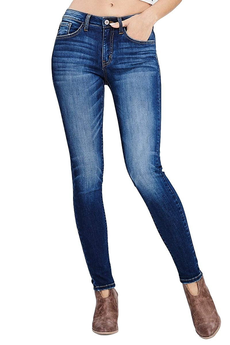 99a77bcf0fa KAN CAN Jeans Holly-Marion Mid-Rise Medium Dark Wash Super Skinny Jeans  KC7085GT (24) at Amazon Women s Jeans store
