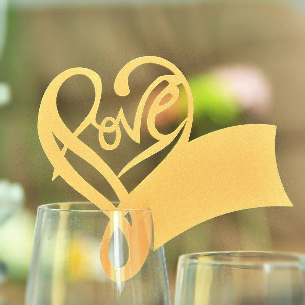 WeiterVor 50 Stück Herzchen Platzkarte Namenskarte Tischkärtchen für Hochzeiten Party Feste (Gold)