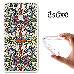 BeCool® - Funda Gel Flexible Huawei P9 Colorful Abstract Flowers Carcasa Case Silicona TPU Suave