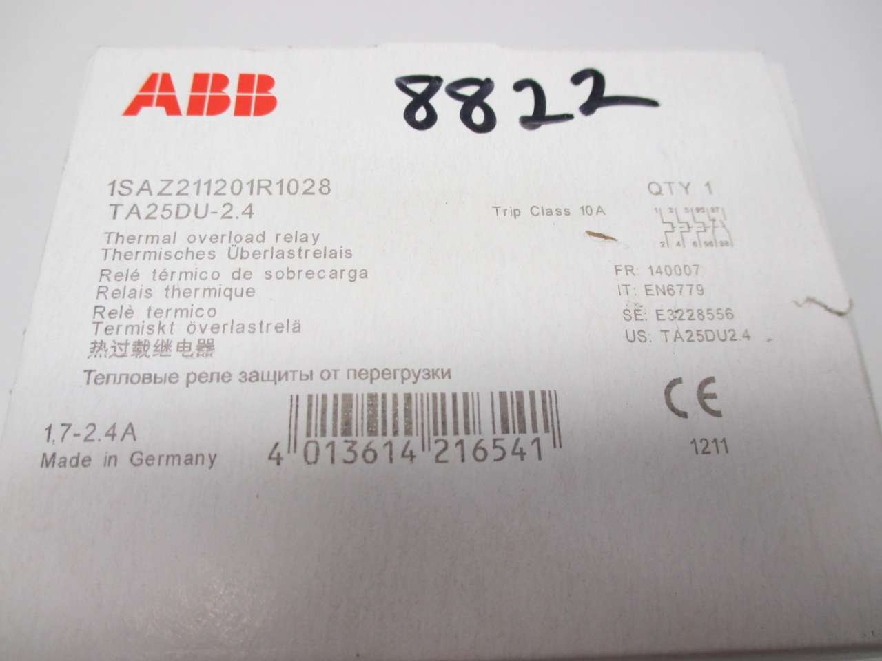 New Abb Ta25du 24 17 24a Amp Thermal Overload Relay D511209 Solid State Amazoncom Industrial Scientific