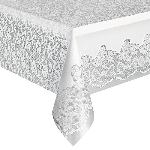 "Set of 2 Unique 108"" x 54"" White Lace Plastic Tablecloth bundled by Maven Gifts"