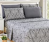 #4: 6 Piece: Paisley Printed Bed Sheet Set 1800 Count Egyptian Quality HOTEL LUXURY Flat Sheet,Fitted Sheet with 4 Pillow Cases,Deep Pockets, Soft Extremely Durable by Lux Decor (Queen, GREY)