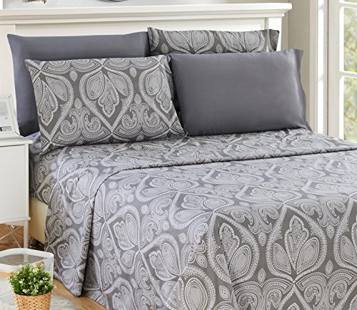 6 Piece: Paisley Printed Bed Sheet Set 1800 Count Egyptian Quality HOTEL LUXURY Flat Sheet,Fitted Sheet with 4 Pillow Cases,Deep Pockets, Soft Extremely Durable by Lux Decor (King, GREY)
