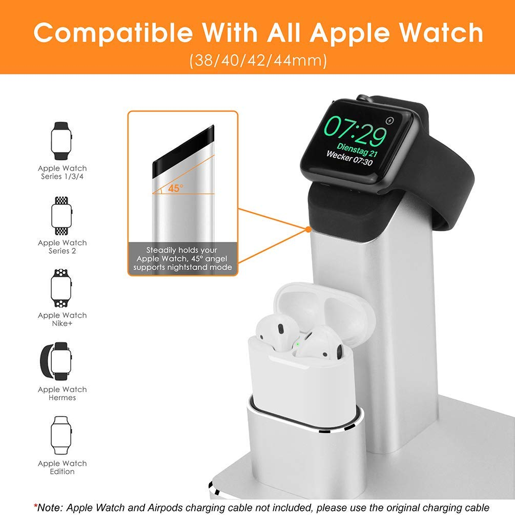 Soporte de Carga 3 en 1 para Apple Watch iPhone AirPods Soporte para estación de Acoplamiento Soporte para iWatch 4/3/2/1 / AirPods/iPhone XR/XS / 8/8 Plus / 7/7 Plus - Ranipobo