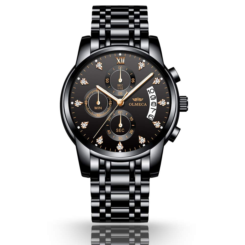 Men's Gold Watch Waterproof Analog Roman Number Multifunctional Quartz Wristwatch with Silver Stainless Steel Band
