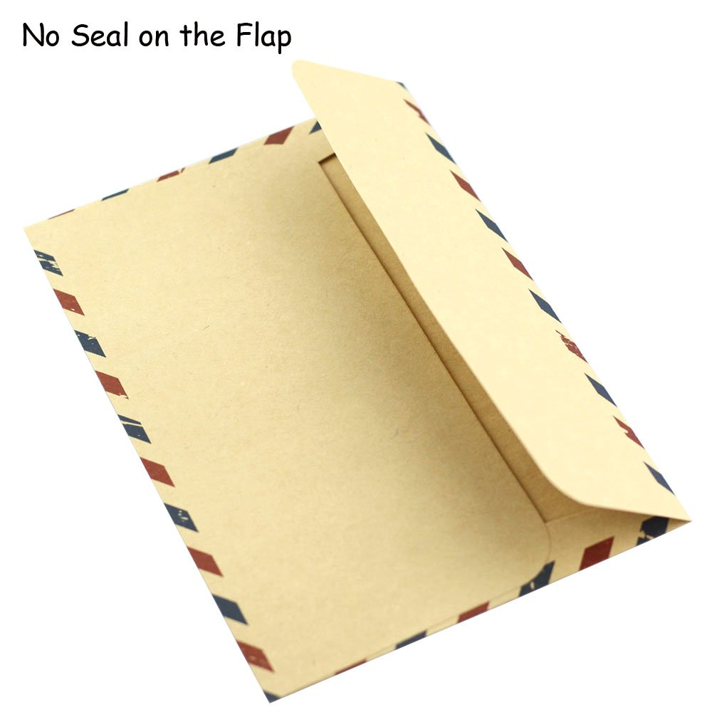 Bolbove Set of 50 Classic AirMail Vintage Style Kraft Paper Postcard Letter Envelopes Invitations (Brown) by Bolbove (Image #7)