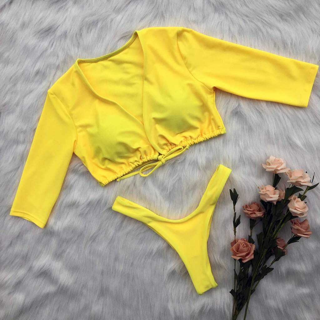 Womens Long Sleeve Tie Knot Front Cutout High Cut Two Piece Swimsuit