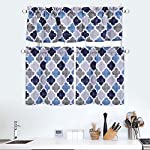 CAROMIO 3 Pieces Cafe Curtains Kitchen Tier Curtains and Valance Set Bathroom Curtains and Valance Set Geometric Pattern Tier Curtains