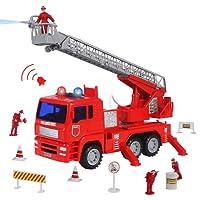 Camion Pompier Enfant Vehicule Miniature Pompiers Maquette Camion Pompier Figurine Rouge Jouet pour Enfant Fille Garcon 3 4 5 Ans