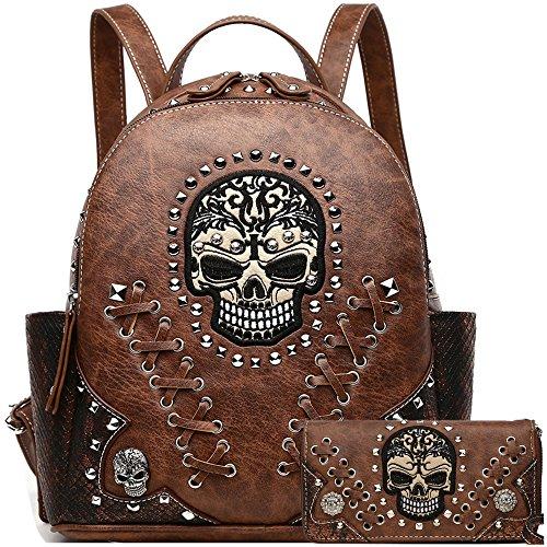 Art Brown Biker Bag Sugar Python Wallet Punk Backpack Daypack Fashion Skull Rivet Stud Women Shoulder Purse Set Set pwwfx4E
