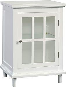 "Sauder Cottage Road Display Cabinet, L: 18.9"" x W: 15.75"" x H: 27.01"", White Finish"