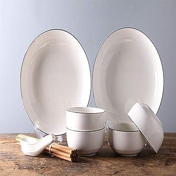Juego de cubiertos set tarde en casa Juego de cubiertos japoneses y coreanos set de vajilla simple cocina de cerámica kit diario: Amazon.es: Hogar