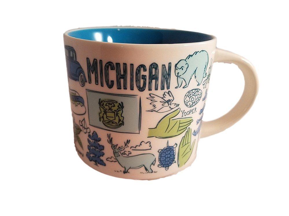 Starbucks Michigan Been There Series Ceramic Coffee Mug 14 oz