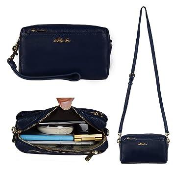 Befen Women Full Grain Leather Trip Zip Crossbody Bag Crossbody Cell Phone  Wallet Purse Cluth Bag