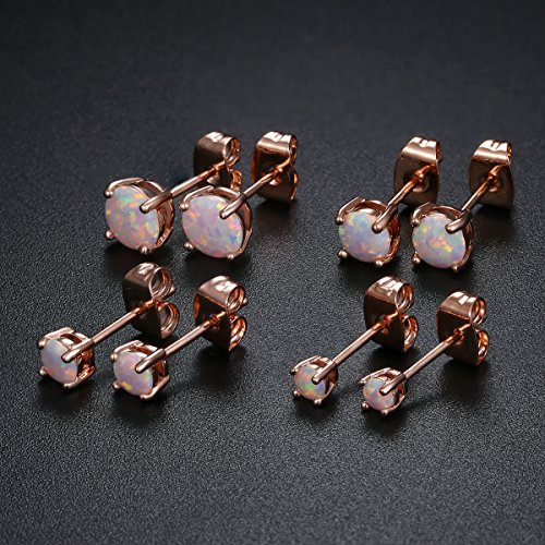 GEMSME 18K Rose Gold Plated Opal Stud Earrings 6MM Round For Women