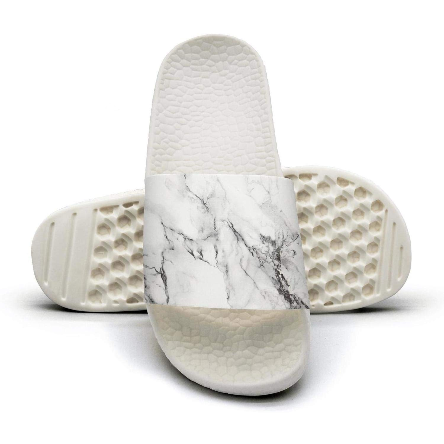 Mens Slides Shoes Cool White Marble Design Sandals Extra-Soft Beach Slippers