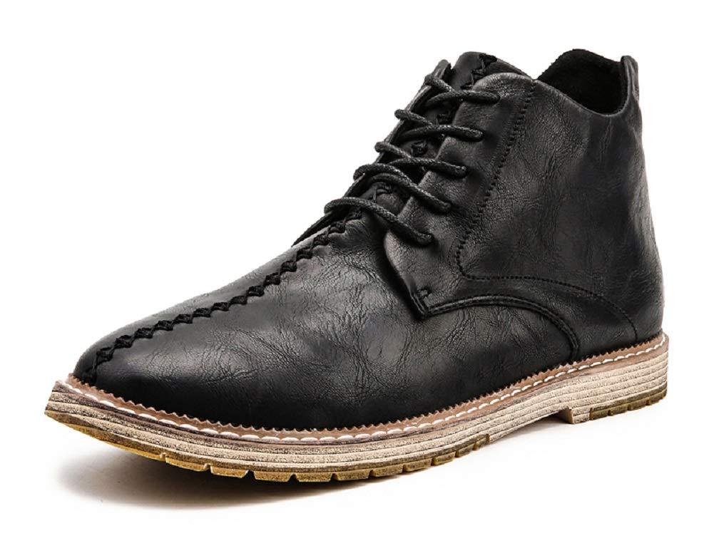 JiYe Mens Driving Shoes Fashion high end Business Men Cow Leather Boots,Black,40EU=8US-Men