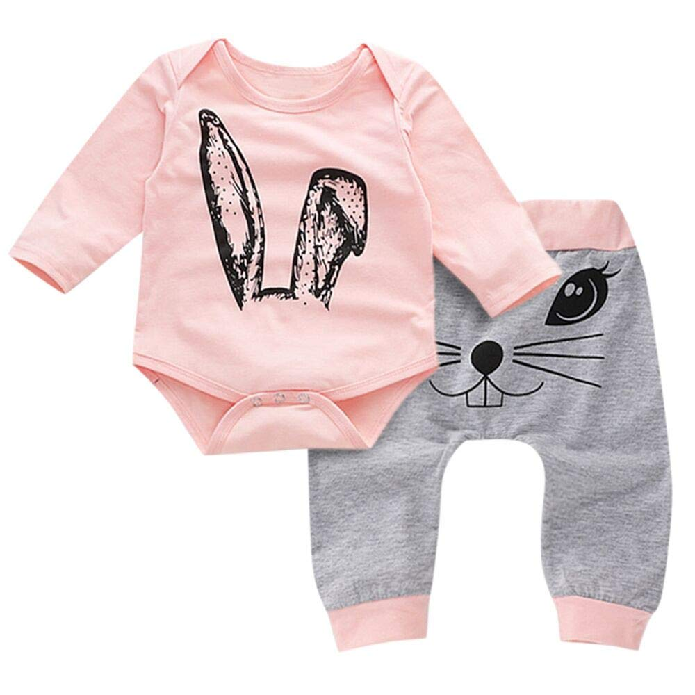 Kid Clothes Toddler Kids Baby Girl Cartoon Rabbit Tops Print Rompers Pants Clothes Sets Children Long Sleeves Jumpsuit Trousers Outdoor Suit For Children Winter Toddler Baby Girl Kid (Pink, 0-6M)