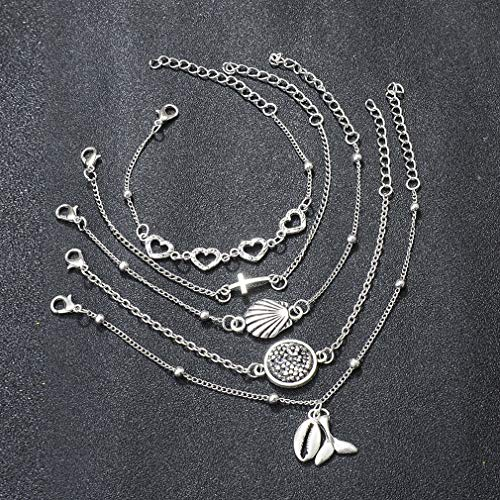 TraveT Vintage Stackable Bracelets Multilayer Bracelet Set Boho Heart Shell Fish Tail Cross Charm Bracelet Bangle for Women Girl Fashion Jewelry ()