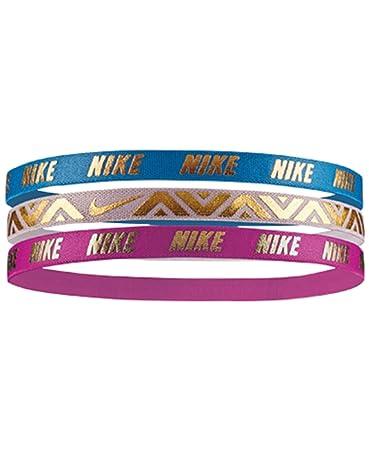 fe27f1a1ef63c Amazon.com   Nike Metallic 3 Pack Headband Pink O S   Beauty