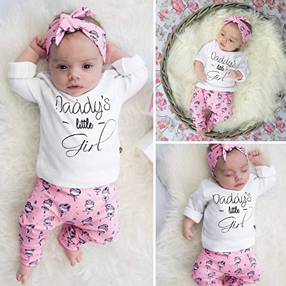 Amazon.com: Newborn Infant Daddys Little Girl Outfits Set Baby Girls Letter Tops Cartoon Pants: Clothing