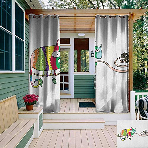 leinuoyi Reptile, Outdoor Curtain Wall, Colorful Chameleon on The Branch Playing with Grumpy Fly Animal Humor Cartoon Print, for Patio Furniture W84 x L96 Inch Multicolor