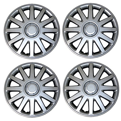 TuningPros WSC3-610S16 4pcs Set Snap-On Type (Pop-On) 16-Inches Metallic Silver Hubcaps Wheel Cover