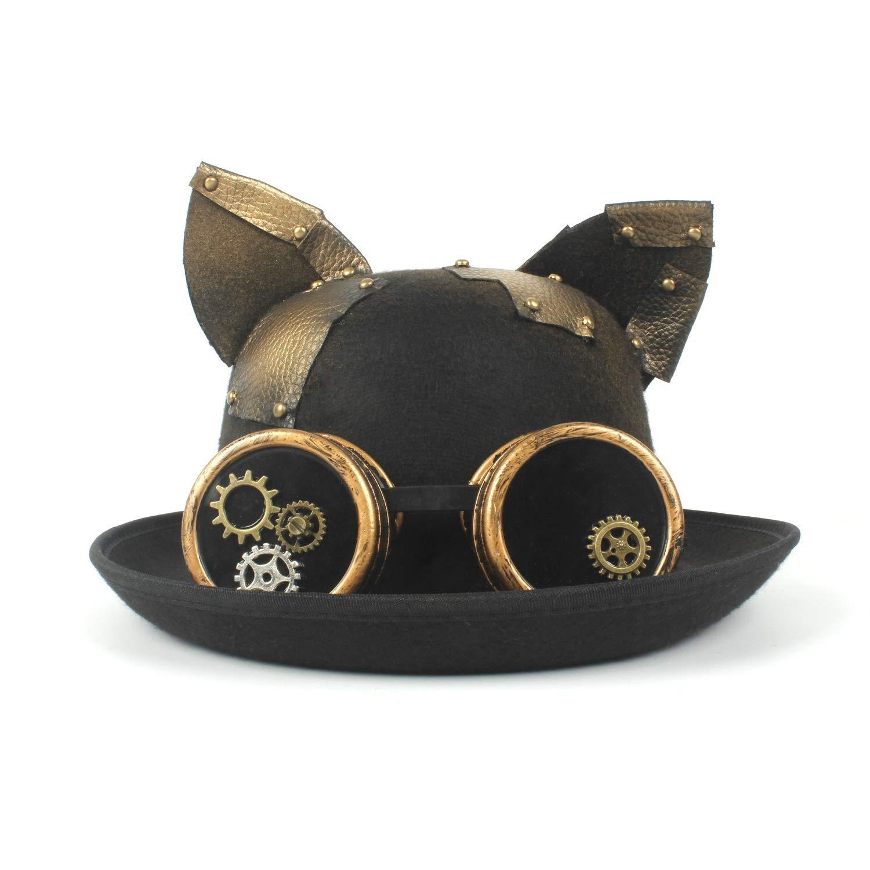 LL Fashion Women Hat Lady Bowler Hat Vintage Steampunk Gear Glasses Black Cat Ear Hat Tops Unisex Couples Party Hat Headwear (Color : Black, Size : 56-58cm)