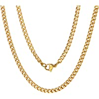 "ChainsPro Men Necklace, 3/4/6/9/12/13mm Cuban Link Chain,18/20/22/24/26/28/30"", 316L Stainless Steel/18K Gold Plated…"