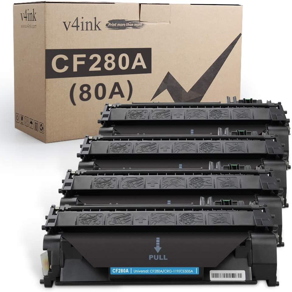 V4INK 4PK Compatible Toner Cartridge Replacement for HP 80A CF280A Toner Cartridge Black for use in HP LaserJet Pro 400 M401N M401DN M401DNE M401DW Printer, HP LJ Pro 400 MFP M425DN M425DW Printer